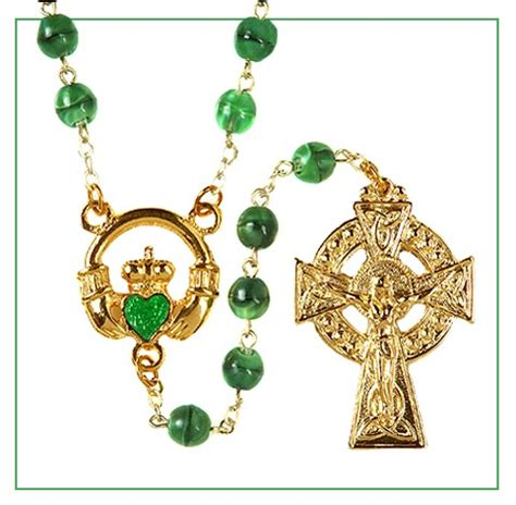 celtic cross with rosary claddagh rosary glass green gold tone with