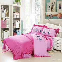 Quilt And Duvet Difference New Embroidered Cute Cat Pink Girls Children Bedding Sets