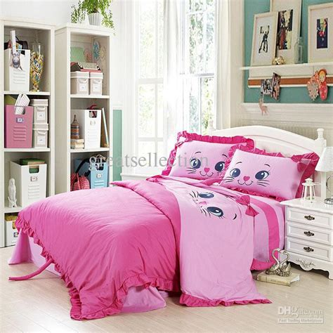 girl twin size bedding sets girls bedroom decoration with embroidered cat pink bedding