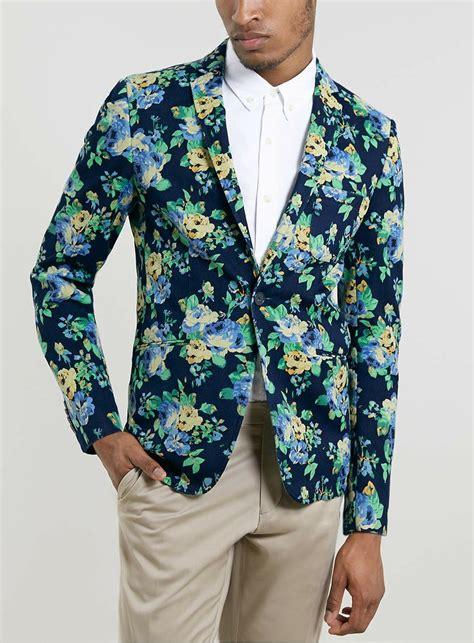 Blue Flower Blazer 8825 mens vito floral blazer blue fashion