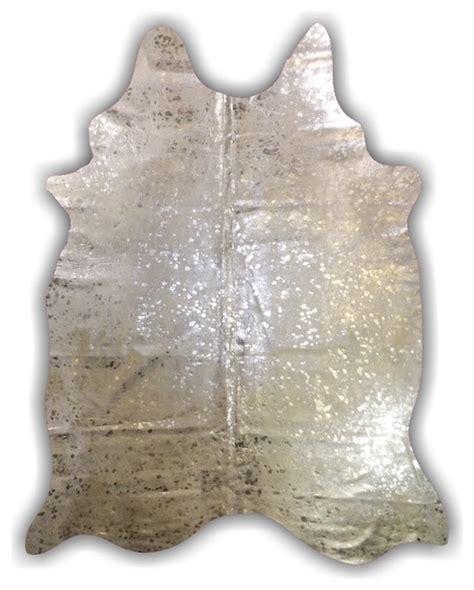 Cowhide Rug Silver - silver hide devore metallic cowhide rug