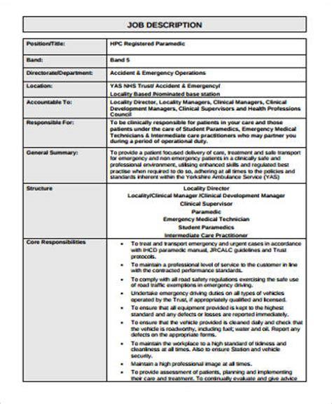 8 Paramedic Job Description Sles Sle Templates Paramedic Description Template