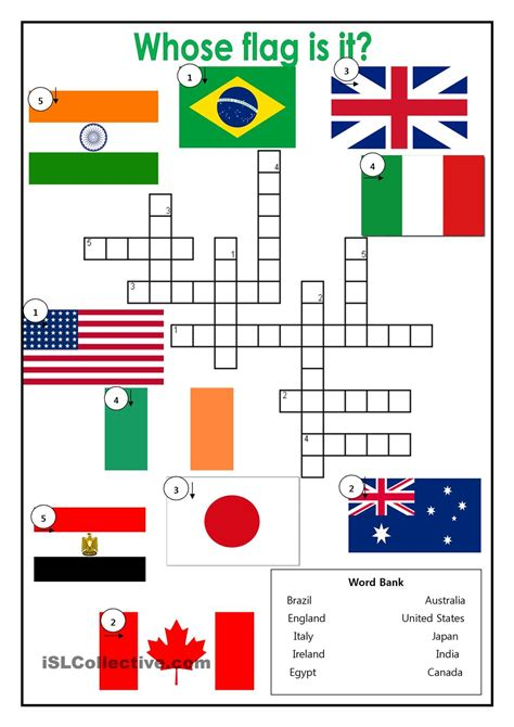 printable english puzzle country flags crossword esl worksheets of the day
