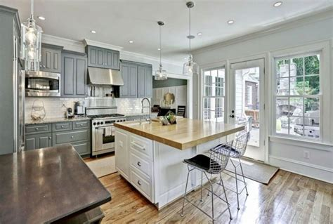white wooden kitchen island with gray marble counter top 30 gray and white kitchen ideas designing idea