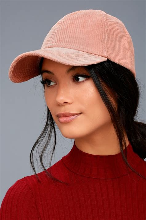 Luxe To Less Winter Hats Up 1 by Billabong Club Blush Pink Baseball Cap Corduroy Hat