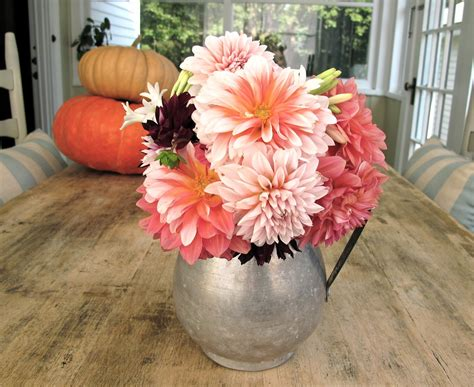 To Market Centerpiece by Steffens Hobick Dahlias Fall Flowers From The