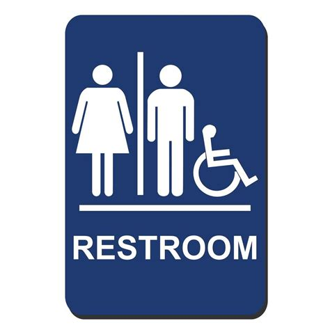 bathroom signs for the home lynch sign 6 in x 9 in blue plastic restroom braille accessible sign uni 10 the