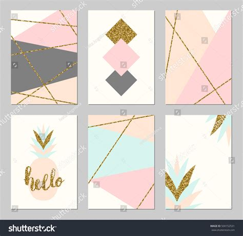 geometric patterns card template set six abstract geometric designs gold stock vector