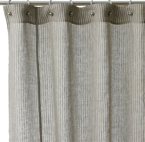 Cotton Shower Curtains Linen Stripe Cotton Shower Curtain Contemporary Shower Curtains By Overstock