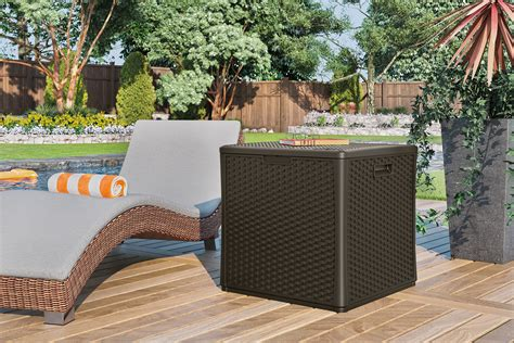 suncast patio furniture suncast elements storage cube outdoor living patio furniture patio deck storage