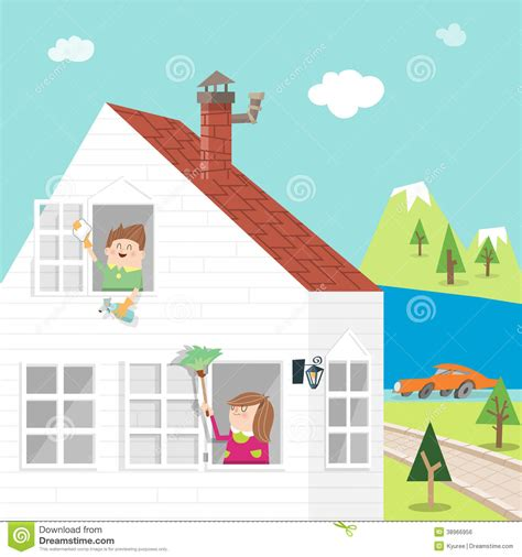 spring house cleaners spring clean a stock vector image of girl mother