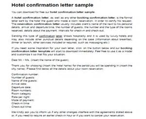 Hotel Room Booking Cancellation Letter Sample Hotel Confirmation Letter Sample Confirmation Booking