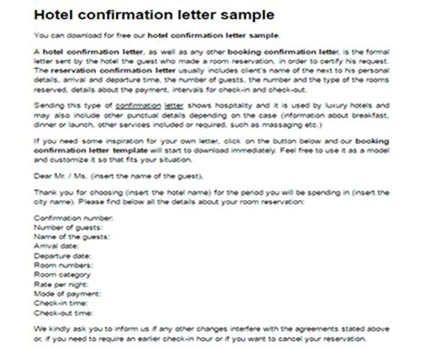 Reservation Letter Hotel Room Hotel Confirmation Letter Sle Confirmation Booking Template