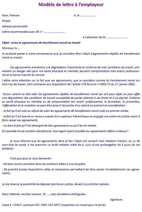 Exemple Lettre De Demission Suite Harcelement Moral modele lettre au travail