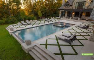 Backyard Pool Must Haves Rectangle Pools With Grass Decks The Large Pool Deck In