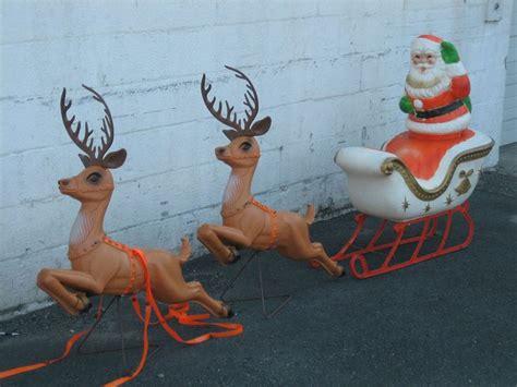 poloron santa sleigh reindeer xmas blowmold light plastic