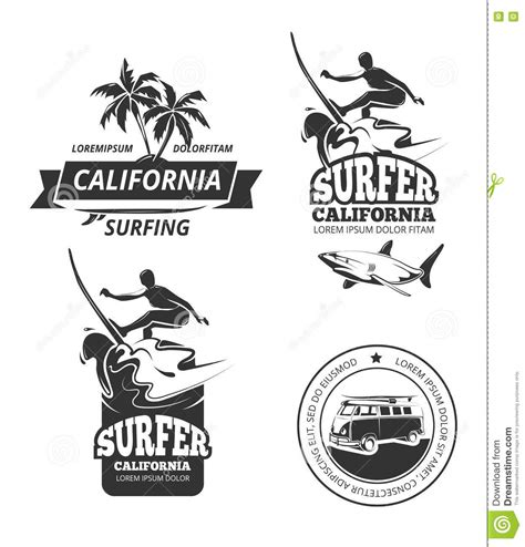 surfing vector labels or badges stock vector image 72000438