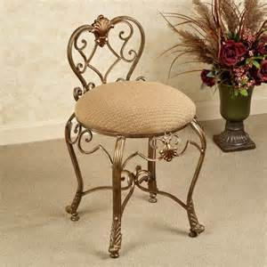Vanity Chair On Wheels Furniture Glossy Gold Cushioned Vanity Chair With Low
