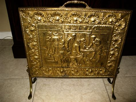 antique brass fireplace screen by lindaantiques on etsy