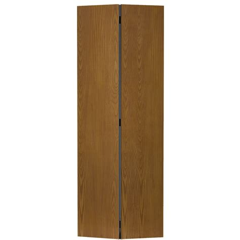 Bifold Closet Doors Lowes Shop Reliabilt 30 In X 80 1 2 In Flush Hollow Oak
