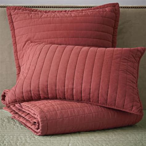 Channel Stitch Coverlet West Elm by Washed Channel Stitch Quilt Shams Chili West Elm