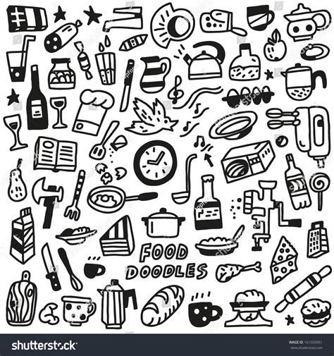doodle food free food doodles collection stock vector illustration