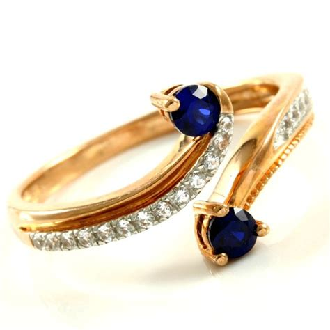 Blue Sapphire 0 7 Ct 14kt gold 0 30 ct synthetic blue sapphire and 0 12 ct white sapphire ring size 7 catawiki