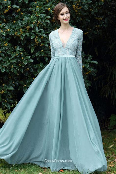by my michelle lace long gown for prom vintage lace chiffon sky blue v neck long sleeve prom