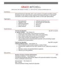 Sample Resume Food Service food service specialist resume free resume template