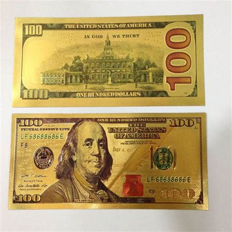 24k gold foil banknote 500 dollars paper money sided