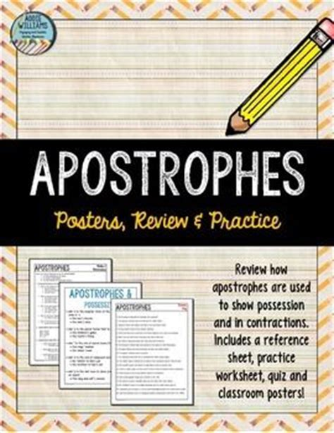 printable contraction poster apostrophes possessive contractions worksheets
