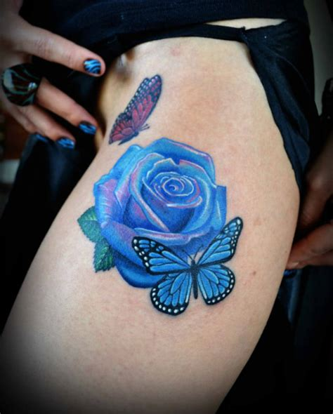 3d tattoo thigh blue rose and butterfly thigh tattoo