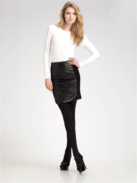 theory irmena ruched leather skirt in black lyst
