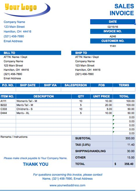 free billing invoice template excel pdf word doc
