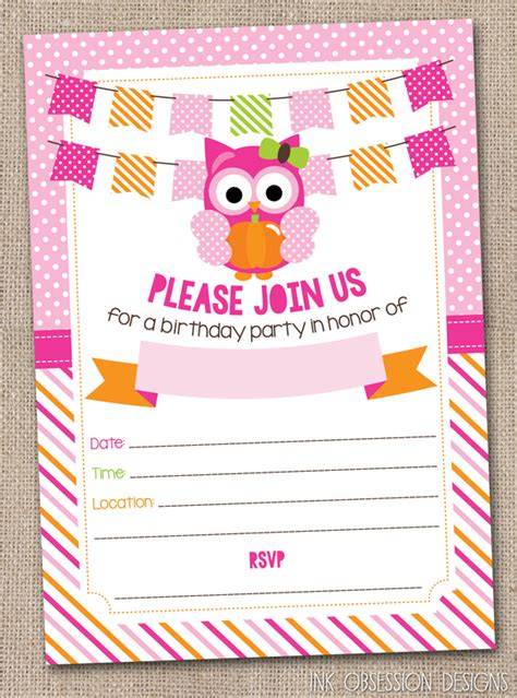 printable owl party invitations ink obsession designs new pumpkin owls printable