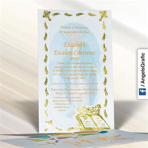 diseos de tarjetas para invitacin de misa de difuntos invitaci 243 n para misa de honras hr 56857 angels graphic