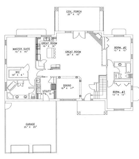 ranch open floor plans ranch house plans with open floor plan chanhassen ridge ranch home plan 088d 0139 house
