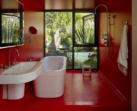 waterproof paint for bathrooms waterproof epoxy paint in red for the cool modern bath