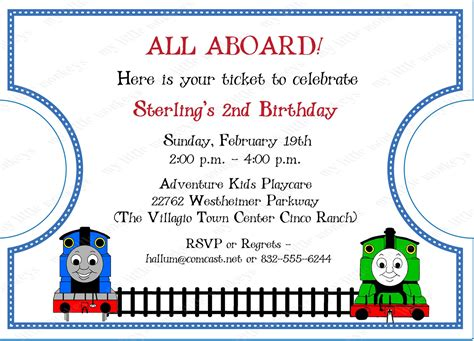 10 die cut thomas train ticket invitations with envelopes