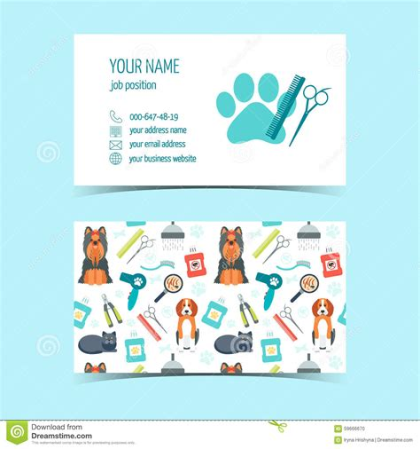ensemble template card pet grooming business card design template with cat