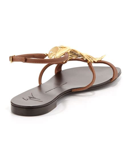 Jones Fish Sandals At Begdorf by Giuseppe Zanotti Fish Bone Flat Sandal Brown Gold