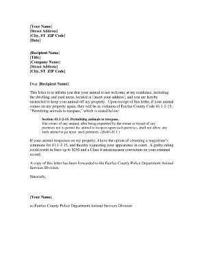 trespassing warning letter fill printable