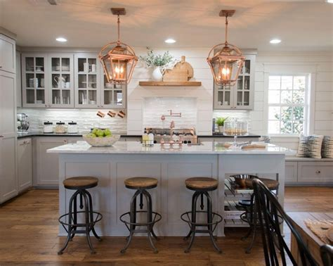 white kitchen with copper and wood accessories color scheme fixer upper copper accents gray cabinets and white marble