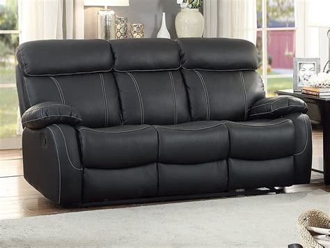 Black Leather Reclining Sofa Homelegance Pendu Top Grain Black Leather Reclining Sofa