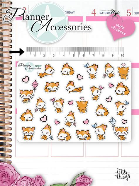 etsy shop kawaii printable planner stickers k011 partymazing kawaii fox stickers cute fox stickers fox stickers planner
