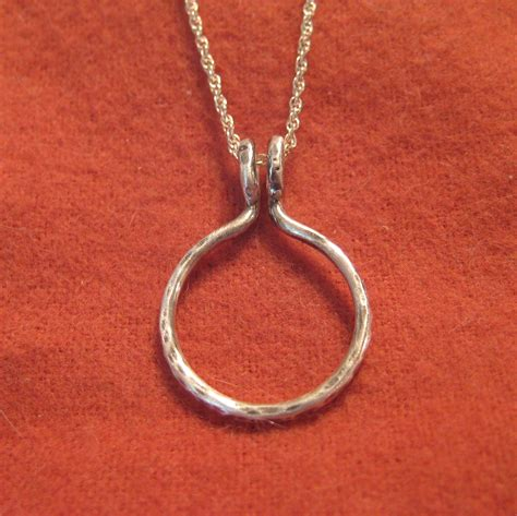 ring holder necklace silver wedding engagement pendant circle
