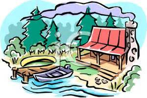 lake house summer cabin by a lake royalty free clipart picture