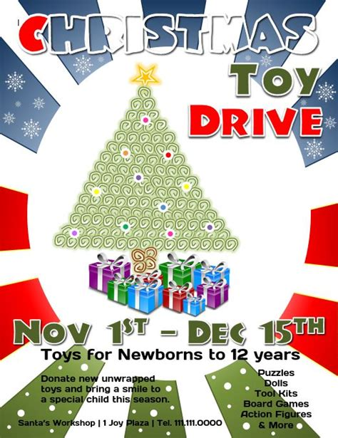 Download This Free Christmas Toy Drive Flyer Template For Microsoft Word Flyertutor Com Drive Templates
