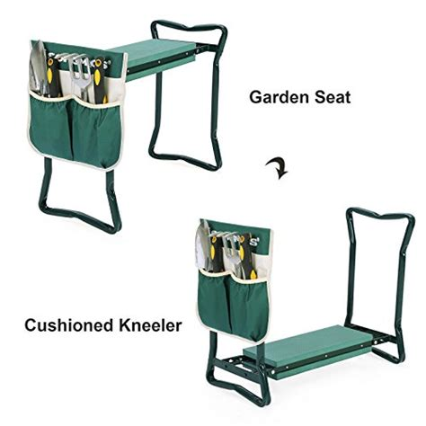 garden tool bench songmics garden seat bench with eva kneeling pad and tool pouch uggk49l 6cows
