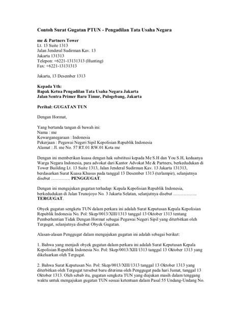 contoh surat jawaban gugatan ptun
